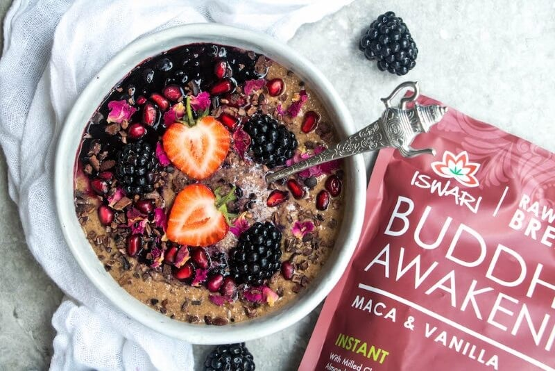 Maca & Vanilla Breakfast Bowl with smashed berry compote