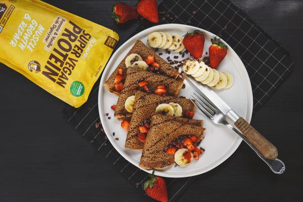 Crepes Proteicos de Cacau e Banana