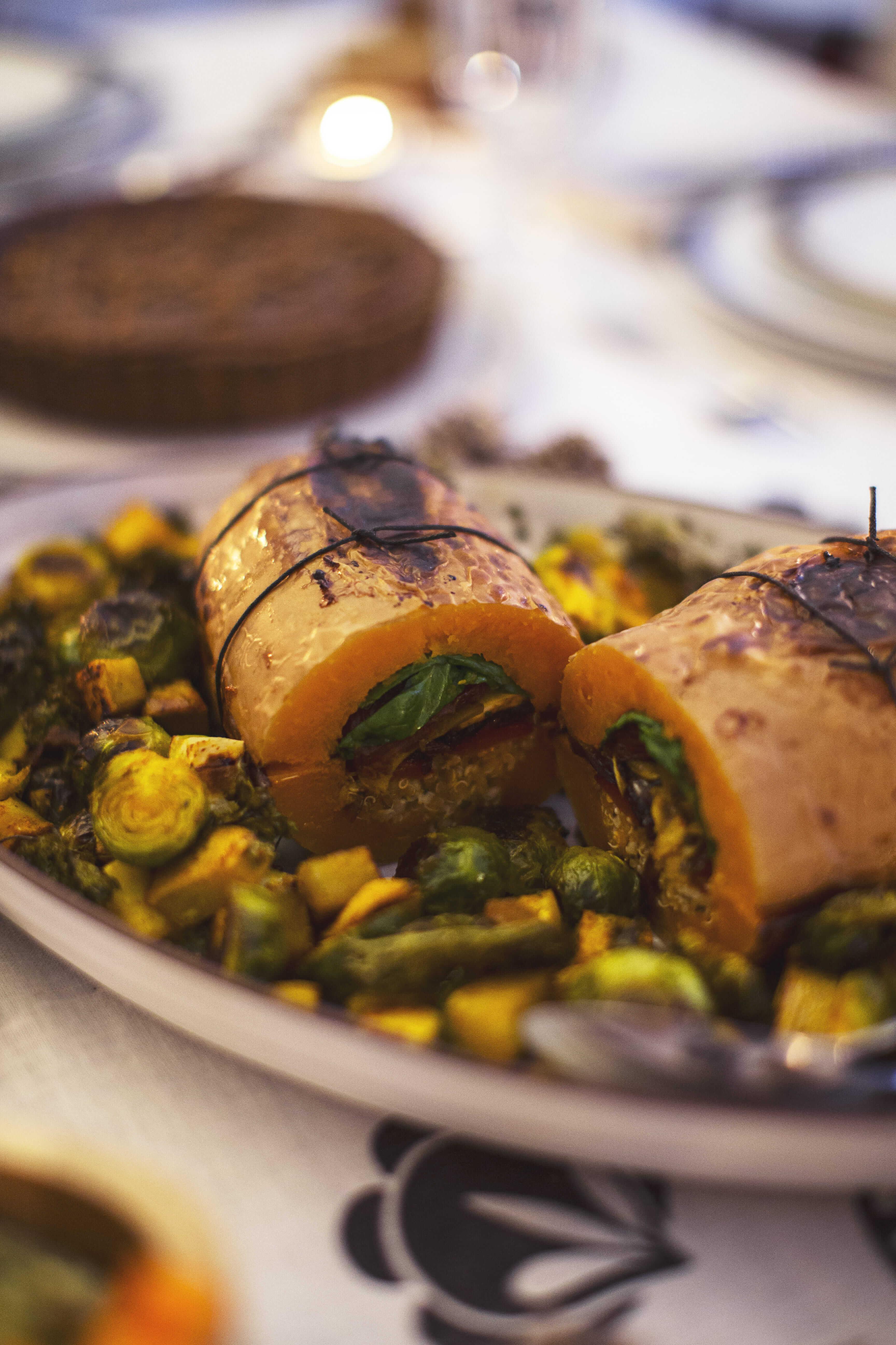Citrouille farcie au Quinoa et aux Champignons