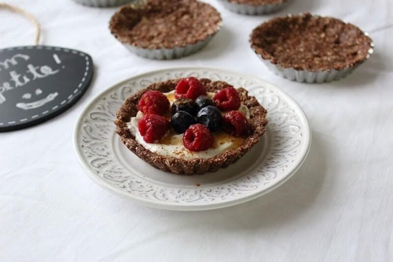 Mini-tartas de cacao y coco