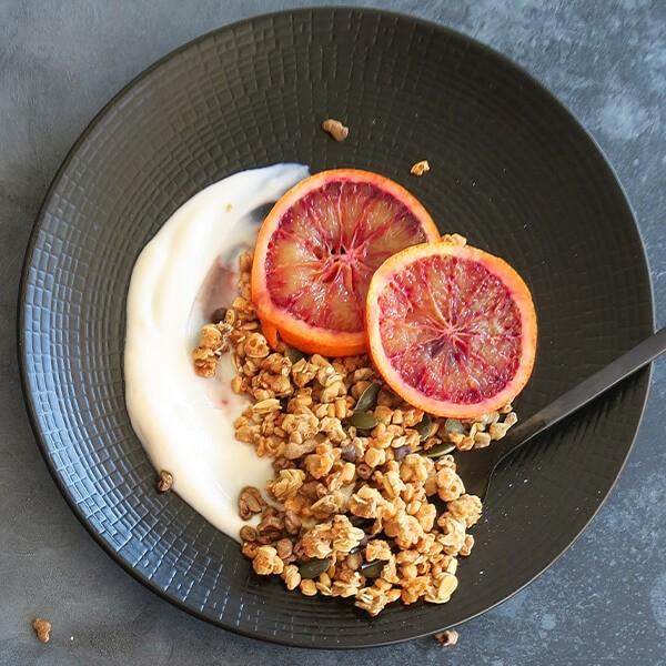 Plant-Based Yogurt With Dried Fruit Granola