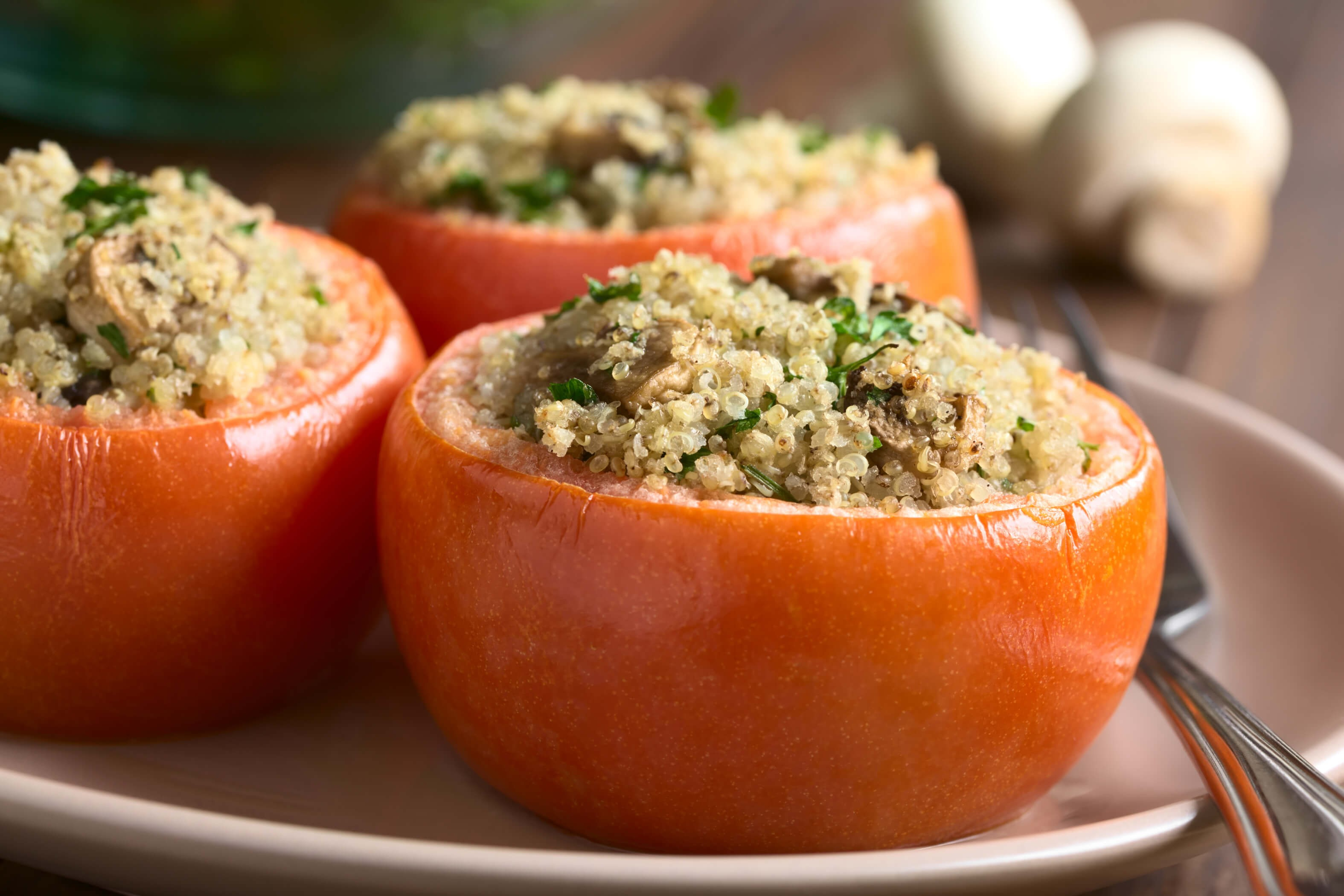 Baked Tomatoes Stuffed With Quinoa And Peppers