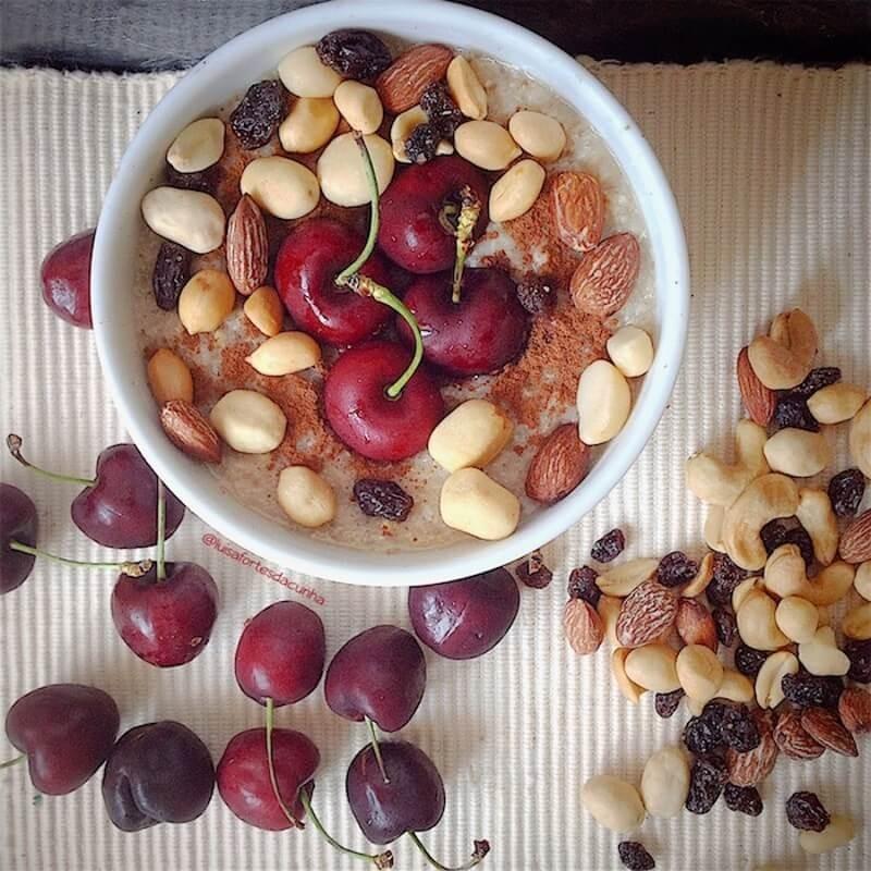 Oat Porridge with Buddha's Awakenings and Cherries