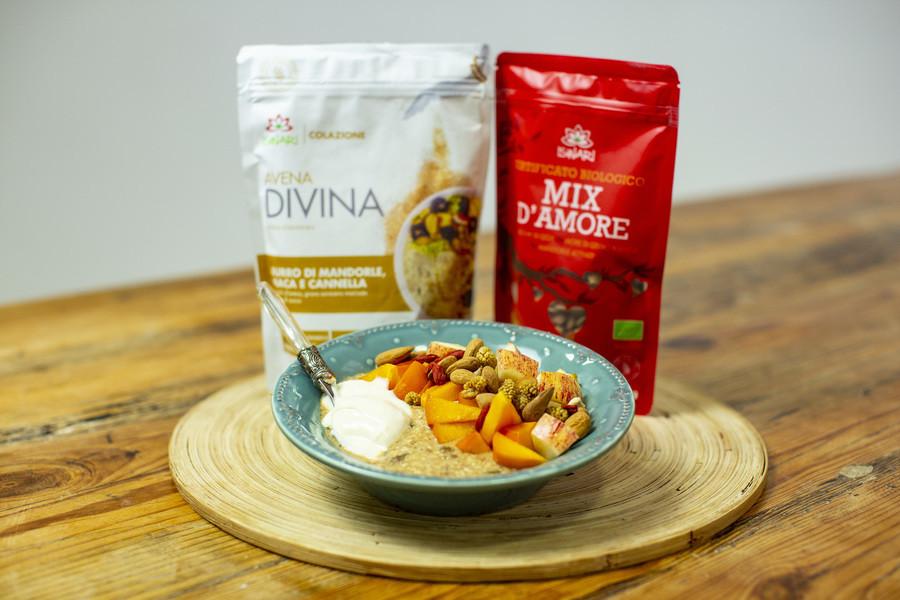 Porridge di Mandorle, Maca e Mela